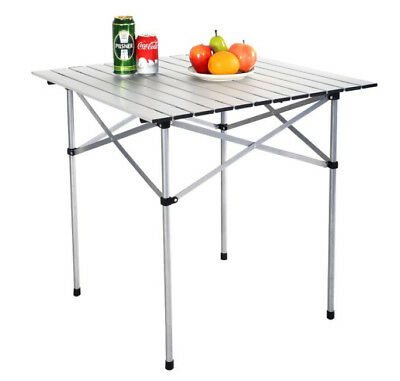 Roll Up Table Folding Camping Outdoor Indoor Picnic Aluminium With Bag New