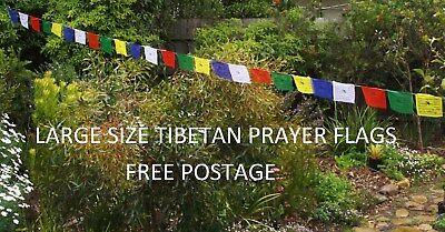 Tibetan Prayer Flags 25 x 23cm x16 cm x 5.8 meters  Made In Nepal Free Postage
