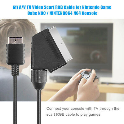 6Ft A/V TV Video Scart RGB Cable Cord for Nintendo Game Cube NGC/N64 Console LJ