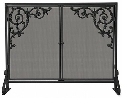 UniFlame S-1471 Single Panel Olde World Iron Screen with Doors and Cast Scrolls