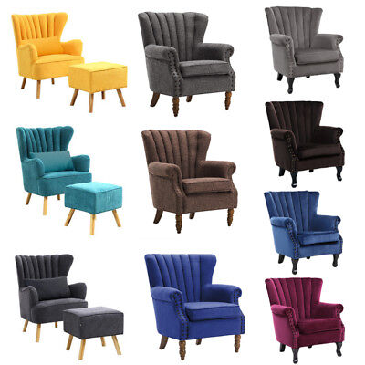 Fabric Linen Upholstered Accent Tub Chair Wing Back Armchair Lounge & Footstool