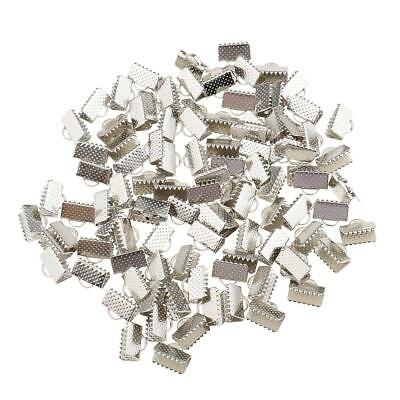 100x Ribbon Clip Clamp Cord Crimp End Cap Tip Necklace Findings White K 10mm
