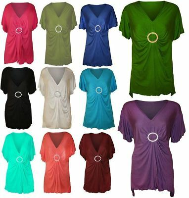 New Plus Size Ladies Diamante Hanky Hem V Neck Womens Short Sleeve Tops UK 14-28