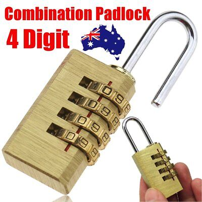 4 Digit Combination Padlock Security Travel Suitcase Luggage Bag Code Lock Brass