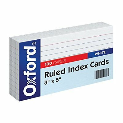 """Oxford Ruled Index Cards, 3"""" x 5"""", White, 100-Pack (31)"""