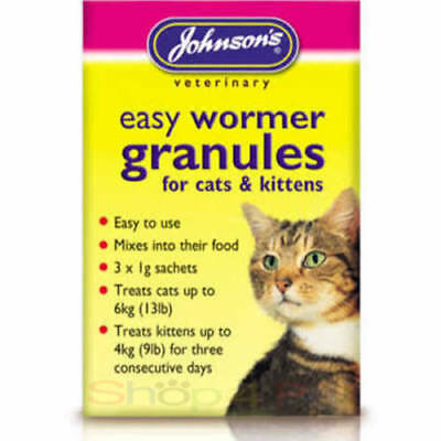 Johnsons JVP Easy Round Wormer Granules Cats Kittens over 12 Weeks of Age
