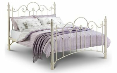 Florence Metal Bed Frame In Cream - Single Double Kingsize