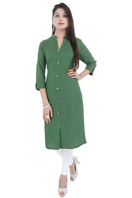 Indian Bollywood Kurta Women Ethnic Dress Top Tunic Solid Cotton Kurti for Women