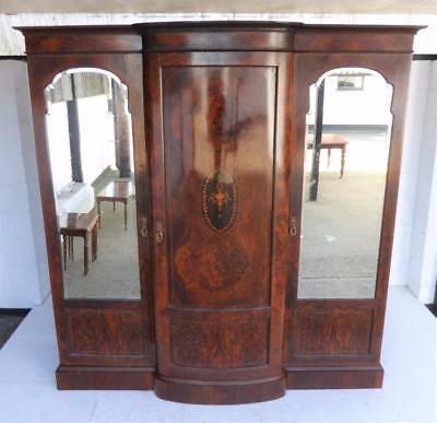 Late Victorian Burr Walnut Triple Door Wardrobe/linen press/compactum