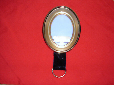 Vintage Small Oval Brass Wall Frame w/ Convex Glass by Carr