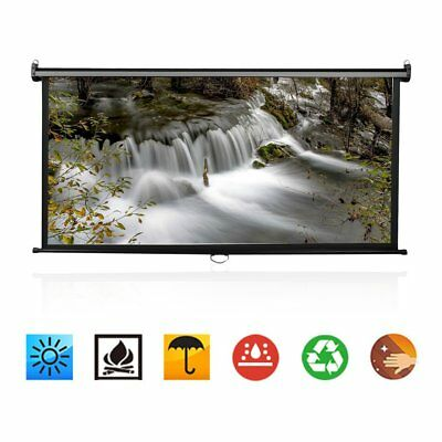 "100"" Manual Pull Down Portable Projector Screen 16:9 Matte HD Home Movie Theater"