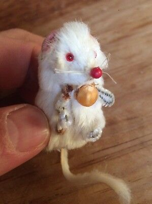 Vintage Original Fur Toy Little Mouse Miniature West Germany