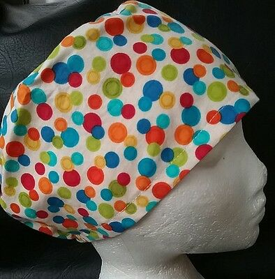COLOURFUL CIRCLES theatre hat hospital scrub cap hat odp surgeon doctor vet
