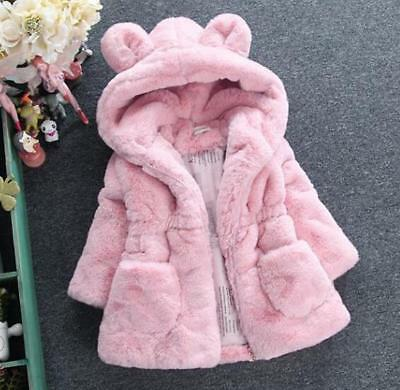 2018 Winter Girls  Faux Fur Black Pink Beige Hood Parka Jacket Coat Age 1-8