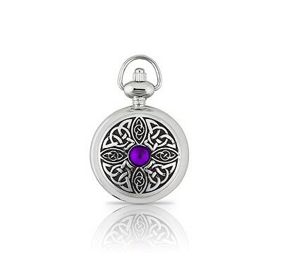 A E Williams Ladies Pendant Watch with Celtic Knot and Gemstone 5957P