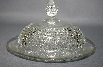Indiana Glass Clear Glass Diamond Point Oval Dome Lidded Butter Dish Vintage