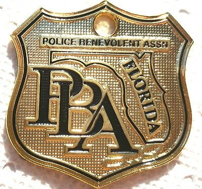 New Fl Law Enforcement, Police Supporter Car Gold License Plate Tag Pba Shield