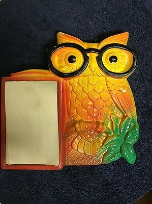 Vintage Miller Studio Inc Owl Note Pad Memo Holder Chalkware Plaque Bird 1970