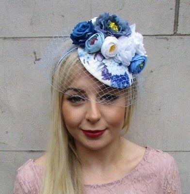 White Royal Light Blue Rose Birdcage Veil Flower Fascinator Pillbox Hat 4957