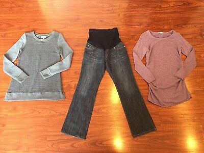 Liz Lange Maternity Lot Jeans Sweater Blue Purple Size 2 Extra Small XS
