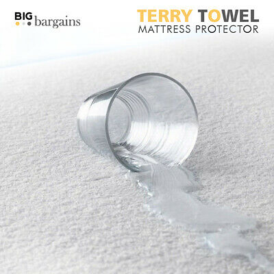 Luxury Mattress Protector Terry Towelling Fitted Sheet Bed Cover Waterproof