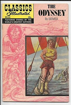 Classics Illustrated 81 The Odyssey by Homer HRN 169 VG/FN Spring 1969 Gilberton
