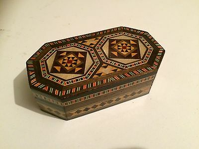 Vintage Wood BOX Geometric Pattern Inlaid Velvet Lined ANTIQUE Middle Eastern