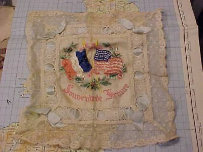 Original Wwi Us France Flags Embroidered Souvenir