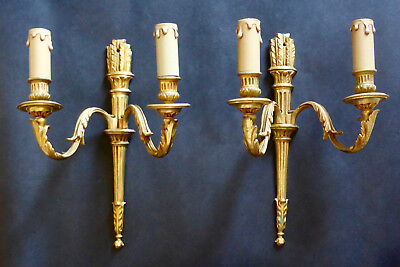 A Pair of French Gold Bronze Double Wall Lights Sconces Superb Detail Vintage