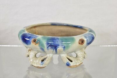 Antique Chinese Blue & Green Ceramic / Pottery Crab Shaped Flower Pot, 19th c