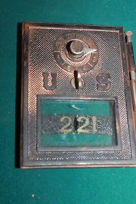 Vintage Brass US Post Office Box Door Antique USPS With Glass 221