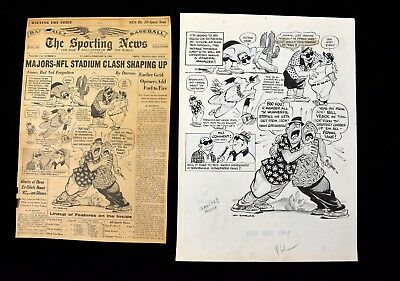 1963 Indians w No General Mgr Sporting News Cover Original Cartoon Art by Darvas