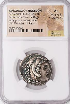 Outstanding NGC AU Ancient Alexander the Great Silver Tetradrachm 5/5, 5/5