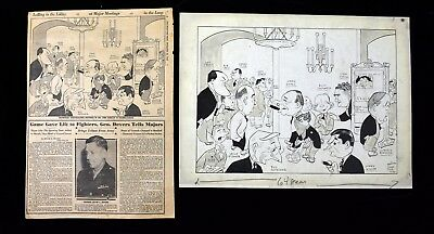 1945 Palmer House Chicago w Big Wigs Sporting News Orig Cartoon Art by Nelson
