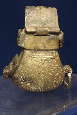 RARE ANTIQUE BRASS TURKISH-OTTOMAN- PERSIAN SCRIBE'S Traveling  INKWELL #2