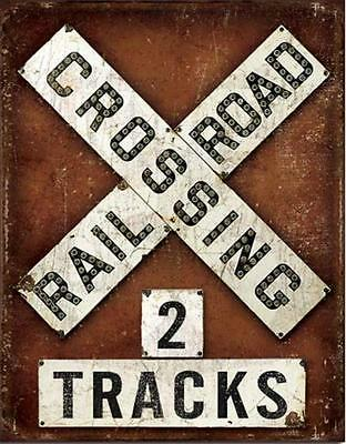 Railroad Crossing Metal Tin Sign Plaque Train Room Vintage Style Wall Decor