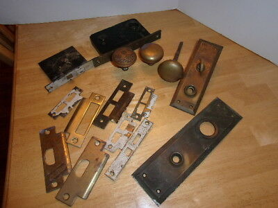 Antique Collection Ornate Brass / Bronze Door Knobs Plates