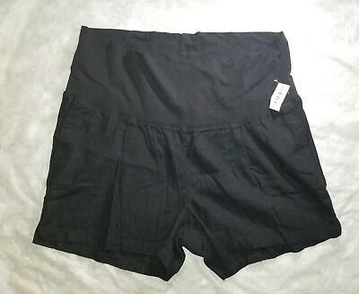 Old Navy Maternity Ladies Large Linen Blend Black Shorts