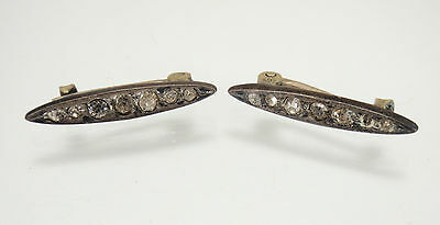 Antique Vintage Victorian Sterling Silver Paste Clear Stone Two Brooch Set