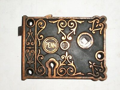 Antique Penn Rim Lock very ornate stamped 5000