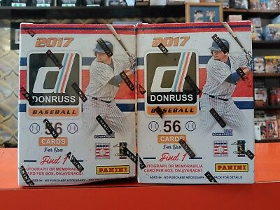 Lot of TWO (2) 2017 DONRUSS Baseball Blaster Box Boxes JUDGE! BELLINGER HOT!