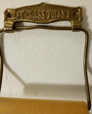 Vintage Brass First Class Toilet Paper Holder Old Bathroom Fixture w (3) screws
