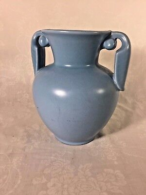 "Stangl Two Handled Art Deco Vase #3104 Turquoise 7""T"