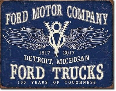 Ford Motor Company Tin Metal Sign Retro 100 Years Trucks Garage Shop Wall Decor