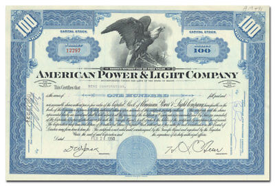 American Power & Light Company Stock Certificate
