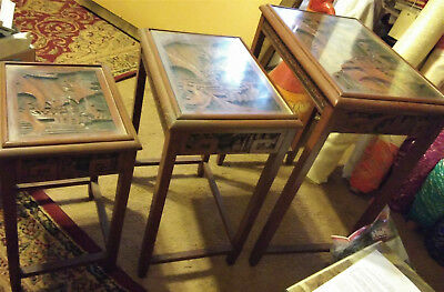 ANTIQUE Asian Hand CARVED WOOD SET OF 3 NESTING TABLES...Original Glass Tops