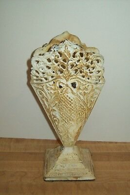 Antique Vintage Ivory Cast Iron Floral Decorative Vase Urn Cottage Shabby French