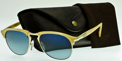PERSOL PO8649S 1046/S3 POLARIZED Light Horn-Gold-Blue Faded Polar 53mm AUTHENTIC