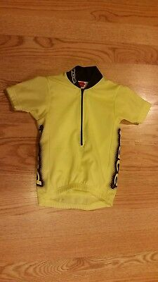 Pace Boys Girls Cycling Bike Jersey Shirt Top Size 1X Yellow Short Sleeve CUTE