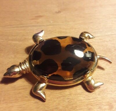 Vintage Turtle Pin MJent Signed Jewelry Lucite Shell Tortoise Brooch M Jent NICE